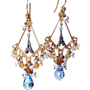 French Country-Paris Chic! London Blue Topaz- Citrine Gemstone Eiffel Tower Chandelier Earrings- Artisan Handmade Jewelry