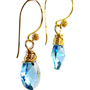 Aquamarine Swarovski Crystal Tear Drop Earrings- Gold Wire Wrapped Dangle- Artisan Handmade Jewelry Gift Her