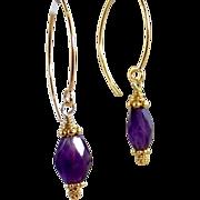 Sale! 24k GV Bali -Purple Amethyst Gemstone Earrings- Gold Vermeil- Artisan Handmade Jewelry- Mother's Day Gift