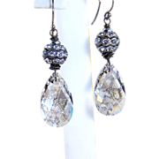 French Country Inspired Shabby Chic- Swarovski Patina Crystal Barrel Earrings- Sterling Silver- Artisan Handmade Jewelry Gift-Her