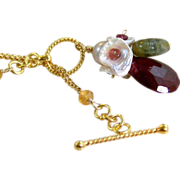 Mother's Day Sale! 50% OFF- Natural Red Ruby- Tourmaline- Citrine- Keshi Pearl Floral Gemstone Cluster Pendant Necklace- Wire Wrapped- Handmade Jewelry- Gift For Her