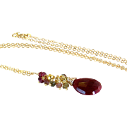 Natural Ruby Gemstone Cluster Pendant Necklace- Red Ruby, Tourmaline, Garnet, Pyrite- Wire Wrapped Artisan Handmade Jewelry Gift for Her/ Woman