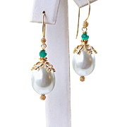 30% OFF Sale! Emerald Green Onyx Tear Drop Sea Shell Pearls- 24k Gold Vermeil Holiday Earrings- Gift for Her- Under $50.