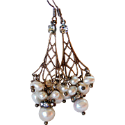 Vintage Cluster Cultured Pearl Chandelier Earrings-Sterling Silver- Vintage Romance! Handmade Jewelry Gift for Her