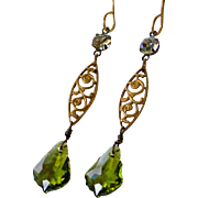 Vintage Assemblage Earrings, Olive Green Swarovski Baroque Crystal, Upcycled Jewelry, Romantic Dangle Earrings, Jewelry Gift for Her