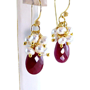 Opaque Natural Ruby Gemstone Briolette Cultured Pearl Cluster Gemstone Earrings- Gold Vermeil- Handmade Jewelry Gift- Her