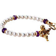 Infant/Toddler FW Pearl Birthstone Baby Bracelet, AAA+++ Tiny Round Fresh Water Pearls, Amethyst Gemstones, 24k GV Cherub, 14k GF- New Baby Gift- Baby's 1st Jewelry- February