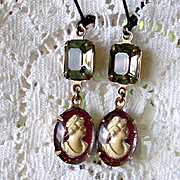 Vintage Assemblage Cameo Earrings-  Black Diamond Vintage Swarovski Crystals-  Upcycled Repurposed -Handmade Jewelry Gift for Her
