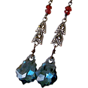 Vintage Assemblage Earrings, Red Garnet Gemstone- Montana Blue Swarovski Baroque Crystal, Black Diamond Crystal, Upcycled Repurposed Jewelry Gift for Her