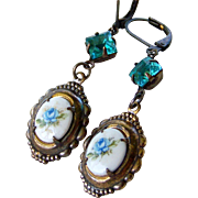 Limoges Vintage 'Shabby Chic' Assemblage Earrings- Blue Floral with Large Aqua Czech Crystal- Upcycled Repurposed Earrings- Handmade Jewelry gift for Her