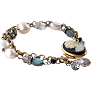Vintage Assemblage Cameo Layered Bracelet-Baroque Cultured Pearls-Blue Flash Labradorite Gemstones-Wire Wrapped Upcycled/ Repurposed-Handmade Jewelry Gift for Her