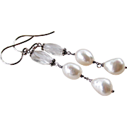 Beach Lover Themed Earrings- Cultured Baroque Pearl, Rock Crystal Gemstone Dangle Earrings, Bali Sterling Silver, Wire Wrapped, Handmade Coordinating Earrings Ocean Lover Gift for Her