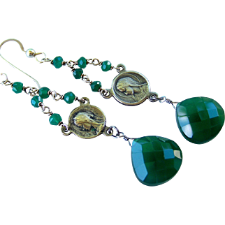 OOAK- Vintage French Rosary Assemblage Emerald Onyx Gemstone Earrings, Catholic Religious, Upcycled/ Repurposed Handmade Jewelry Gift- Her