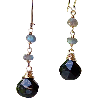 Blue Flash Labradorite- Black Onyx Briolette Gemstone Earrings- Wire Wrapped- Handmade Dangle Earrings- Faceted Onyx Jewelry- Gift for Her