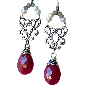 Mother's Day! Opaque Ruby Gemstone Briolette- Blue Flash Labradorite- Cultured Pearl Gemstone Earrings- Sterling Silver- Handmade Jewelry Gift- Her- July Birthstone