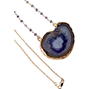 Druzy Iolite Gemstone Pendant Necklace, Wire Wrapped, Layering Drusy Necklace- 18k GF- Jewelry Gift for Her- 22""