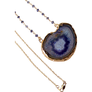 """Druzy Iolite Gemstone Pendant Necklace, Wire Wrapped, Layering Drusy Necklace- 18k GF- Jewelry Gift for Her- 22"""""""