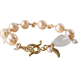 Cultured Pearl Gemstone Bracelet- Bali 24k Gold Vermeil- Rock Crystal Gemstone Wire Wrapped- Handmade Angel Wing Jewelry Gift For Her