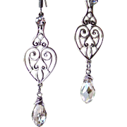 Swarovski 'Silver Shade' Crystal- Sterling Wire Wrapped- Victorian Styled Filigree Heart Earrings- Dangle Teardrop Earrings- Handmade Jewelry Gift