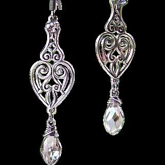 Swarovski 'Silver Shade' Crystal- Sterling Wire Wrapped- Victorian Styled Filigree Heart Earrings- Dangle Teardrop Earrings- Handmade Jewelry Gift