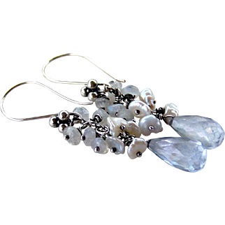 Blue Violet Quartz Briolettes- Cluster Rainbow Moonstone Cultured Keshi Pearl Gemstone Earrings- Oxidized Sterling Silver- Artisan Jewelry Gift for Her  Featuring 16mm LARGE Violet Blue Quartz faceted Briolettes .... hang beneath clustered Cultured K