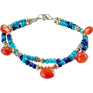 Glamorous Boho Layered Gemstone Bracelet, Turquoise- Lapis- Carnelian- Gold Pyrite- Quartz Gemstones, Sterling Silver, Handmade Jewelry Gift for Her