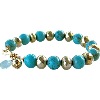 Natural Turquoise, Gold Dipped Pyrite, Aqua Chalcedony Gemstone Bracelet- 24K Bali Gold Vermeil - Handmade Jewelry Gift for Her