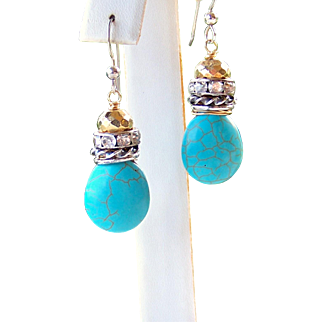Chic Boho/ Cowgirl Stacked Sterling Silver Turquoise Briolette Earrings- Handmade Jewelry Gift for Her