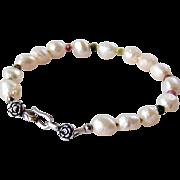 Watermelon Tourmaline, Druzy (Drusy) Baroque Pearl Gemstone Bracelet Bali 925 Sterling Silver Rose Clasp- Artisan Handmade Jewelry Gift for Her
