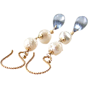 Rosebud Druzy (Drusy) Cultured Baroque Pearl, Blue Quartz Gemstone Dangle Earrings, 14K Gold Fill & 24K Gold Vermeil Wire Wrapped, Handmade Jewelry Gift for Her