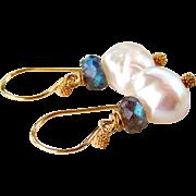 Large Baroque Cultured Pearls, Blue Flashing Labradorite Gemstone Dangle Earrings in 24K Bali Artisan Handmade Gold Vermeil- Jewelry Gift for Her