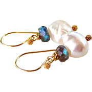 Large Baroque Cultured Pearls, Blue Flashing Labradorite Gemstone Dangle Earrings in 24K Bali Artisan Handmade Gold Vermeil- Jewelry Gift for Her