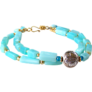 2 Strand Peruvian Opal- Swiss Topaz- Gold Pyrite Gemstone Bracelet- Butterfly Motif- Bali Artisan Handmade 24k Gold Vermeil- Boho- Jewelry Gift for Her
