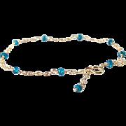 London Blue Topaz Gemstone Bracelet- 14k Gold Filled Double Chain- Delicate Layering Bracelet- Minimalist- Handmade Jewelry Gift for Her- December Birthstone