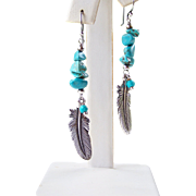 Turquoise Nugget Feather Earrings- Western Chic/ Boho Dangle Sterling Silver Earrings- Handmade Jewelry Gift for Her