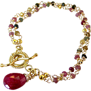 Ruby & Tourmaline 2 Strand Gemstone Bracelet- Bali Gold Vermeil- Artisan Handmade Wrapped Jewelry Gift for Her- October or July Birthday!