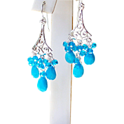 Arizona Sky Blue Turquoise, Swiss Blue Topaz Gemstone Cluster 925 Sterling Silver Chandelier Earrings- Fine Handmade Jewelry Gift for Her- FREE SHIPPING