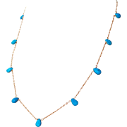 Arizona Sky Blue Turquoise, Swiss Blue Topaz Gemstone Wire Wrapped Necklace- 14k Gold Filled -Fine Artisan Handmade Jewelry Gift for Her- Free Shipping
