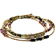 Multi-Color Tourmaline Gemstone Skinny Wrap Bracelet or Necklace, 14k Gold Filled, Layering Bracelet/Necklace, Handmade Jewelry Gift for Her- FREE SHIPPING