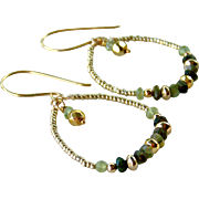 Olive Green Tourmaline Gemstone Hoop Earrings- 24K Gold Vermeil- Beaded- Handmade Jewelry Gift- Free Shipping