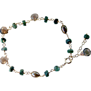 Brazilian Raw Emerald- Smoky Quartz- Cultured FW Pearl Gemstone Bracelet- 14K Gold Filled Wire Wrapped- Earthy/Fall- Handmade Jewelry Gift Her- FREE SHIPPING