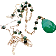 Brazilian Emerald Gemstone -Emerald Green Onyx- Long Wire Wrapped Pendant Necklace- 14k Gold Filled- Earthy- Handmade Jewelry Gift Her- FREE SHIPPING