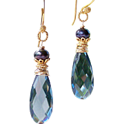London Blue Quartz- FW Cultured Pearl Gemstone Dangle Earrings- 24k Gold Vermeil- 14k Gold Filled Artisan Handmade Jewelry Gift Her- Free Shipping