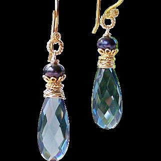 London Blue Quartz- FW Cultured Pearl Gemstone Dangle Earrings- 24k Gold Vermeil- 14k Gold Filled Artisan Handmade Jewelry Gift Her- Free Shipping