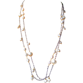 Cultured Baroque Pearl Station Necklace- Extra Long Wrapping Necklace- Mixed Metal Wire Wrapped- Handmade Jewelry Gift Her- Free Shipping