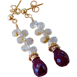 Natural Ruby Briolette Golden Rutile Quartz Drop Earrings- 14k Gold Filled Stacked Stud Earrings- Artisan Handmade Jewelry Gift for Her- Free Shipping