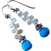 Natural Sky Blue Turquoise & Golden Rutile Gemstone Earrings- Stacked 925 Sterling Silver Dangle Earrings- Handmade Jewelry Gift for Her - Free Shipping