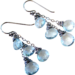 Sky Blue Topaz Gemstone Cluster Earrings- Wire Wrapped 925 Sterling Silver- Handmade Jewelry Gift for Her- FREE SHIPPING
