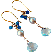 Sky Blue Topaz- Swiss Blue Topaz Gemstone- Gray Cultured Pearl Dangle Earrings- 24K GV- 14K GF Wire Wrapped- Handmade Jewelry