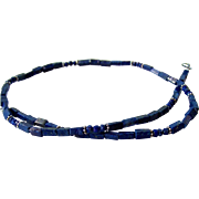 Men's Lapis Lazuli Gemstone Beaded Necklace- Bali Sterling Silver- Artisan Handmade Jewelry- Free Shipping